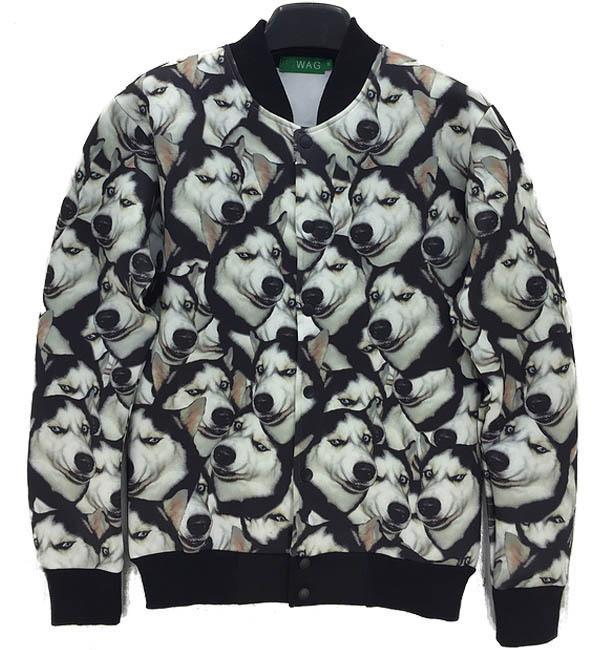 2014 inverno Casual Jacket mens preto / amarelo animal cão 3D impressão brasão marca Jacket mulheres colômbia jaqueta plus size venda(China (Mainland))