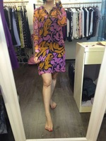 2015 New look contrast color pink and yellow print dress 100% silk Italian design