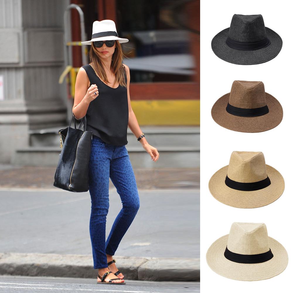Fashion Chapeu Feminino Panama Sun Straw Hat Contrast Color Ribbon Pinched Men Women Crown Rolled Trim Beach Cap Summer Hat(China (Mainland))