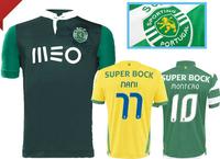 top 2015 Sporting Lisbon jerseys 14 15 NANI SLIMANI WILLIAM  thai quality Lisbon home white green Stripe soccer Jerseys shirts