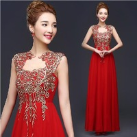 Fashion New Sexy Halter-Neck Red long evening dress party evening elegant Chiffon gown prom dresses 2015 evening dresses E114
