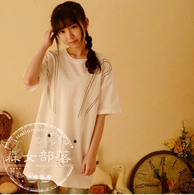 Korean Fashion Clothing T-shirts O-neck Shorts Sleeve Rabbit Print Character Long Cute Japanese Mori Girl 2015 Spring Women New(China (Mainland))