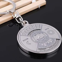 2015 Women Men Unique Metal Key Chain Ring 50 Years Perpetual Calendar Keyring Keychain