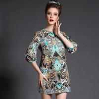 Vintage Brief Women Printed Dress Plus Size Clothing l-5xl Loose Pattern 3/4 Sleeve Vestidos 2015 Spring #BL-Y1567