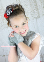 Wedding Flower Girl Kids Beige Gray Fauz Fur Ribbon Cape Shawl fingerless gloves MAAC0166