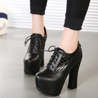 Autumn And Winter Store Sexy High Heeled Shoes Female Waterproof Single Round Rough With The Zipper Shoes