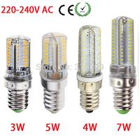LED Lamp E14 3014 SMD 3W 4W 5W 7W 64leds 72leds 80leds 104leds 360 Degree LED Corn Bulb Silicone Body Light