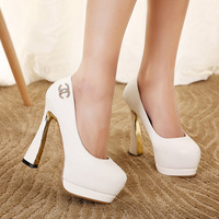 2015 Spring And Autumn Fashion High-heeled Shoes With Diamond Glass Waterproof Taiwan Ultra High Heels Club Princess Shoes
