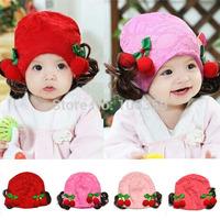 Children's Hat Spring Autumn Lace Cherry Newborn Baby Hat Wigs Baby Girls Skullies Beanies Cap 3-12M 5pcs SW036