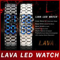 Fashion Hot Sale Black Silver Lava Men Digit LED Display Watch Stainless Steel Samurai  Watch For Men Sports Digital Wristwatch