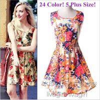 2015 New Sleeveless Print O-Neck Women Summer Casual Chiffon Dress Free Shipping Bk001