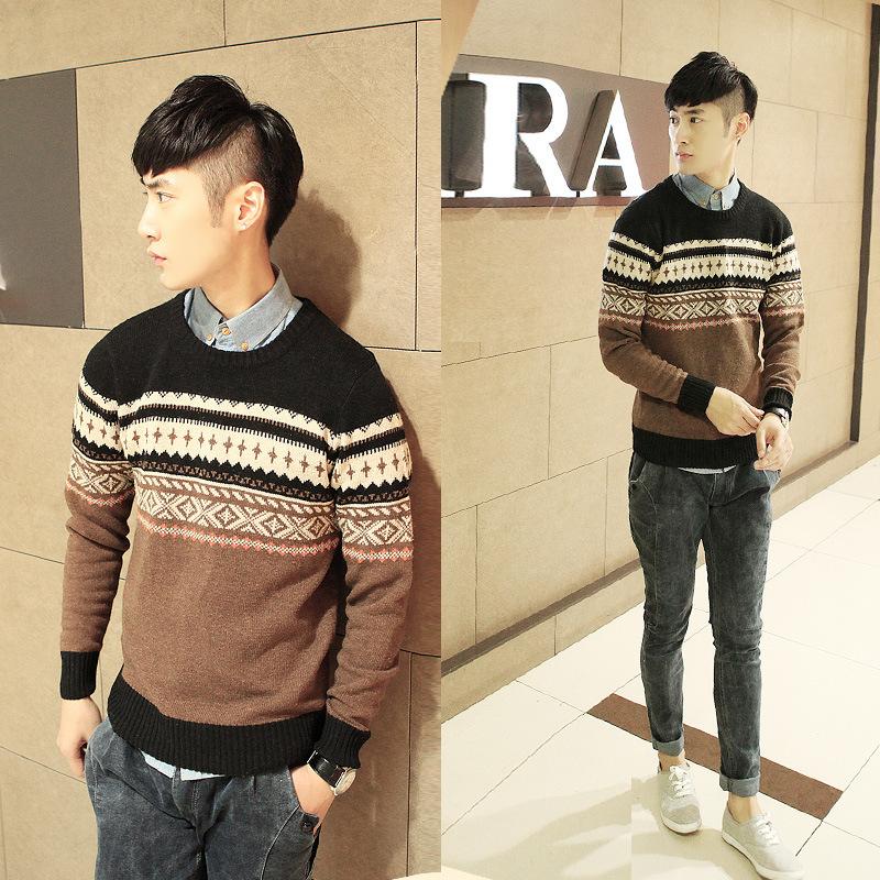 Atividade à relação de preço modelos estilo japonês jacquard Pullover masculino camisola inverno modelos explosão loja agent(China (Mainland))