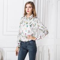 2015 Color Spring Fashion Shirt Women Blouses Button Chiffon Print Blouse Turn-down Collar Long Sleeve Tops Blusa Feminina