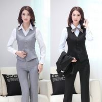 Summer Formal Pant Suits Women Business Suits with Pant and Top Vest Waistcoat Sets OL Ladies Office Uniform Styles