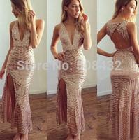 2015 New style gold sequined sleeveless lady dress deep v-neck backless nightclubs open fork irregular package hip bandage dress