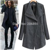 Women Slim Woolen Coat 2015 New Arrival Free Shipping PU Spliced Zipper Long Woolen Coat C-25