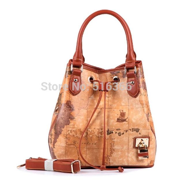 fashion women handbags vintage Women messenger bags map travel bag casual shoulder Bags new 2015 085(China (Mainland))