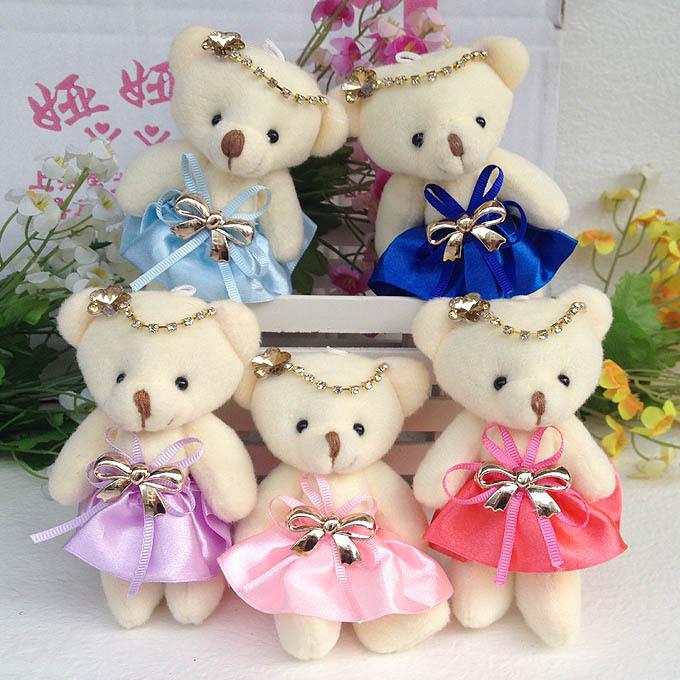 Lovely Teddy Bear Plush Stuff Bear Toys Mini Soft Girl PP Cotton Cartoon Bear doll 12CM 10PCS/lot Promotional Gift()