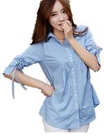 Free Shipping Women 2015 Summer new arrival plus size women's cotton shirt ,Blue women summer blouse  XL XXL XXXL
