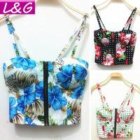 New 2015 Fashion Women Blouses Vintage Flower Print Strap Blouse Sexy Bustier Crop Top Blusas Femininas Shirt Summer Tops 40216
