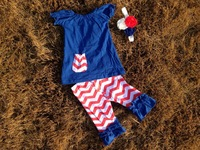 2015 new baby girls kids baby girls kid 4th of July  patriotic capri sets ruffle outfits with matching necklace and headband set
