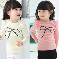 Kids Girls Tops Cartoon bow-knot Long Sleeves T shirt Children Tees o-neck cotton spring clothing  10 colors