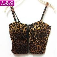New 2015 Fashion Women Blouses Vintage Laopard Print Blouse with Zipper Sexy Bustier Crop Top Blusas Femininas Shirt  Tops 40215