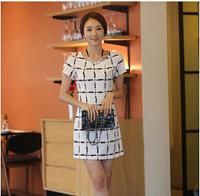 2015 New Fashion Summer Dress weeding dress women's Black White Patchwork Pencil Dress Women O-neck Casual Dresses  S1802