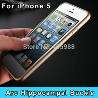 2015 Fashion Luxury Hippocampal Buckle Arc Ultra thin Slim Aluminium Metal Bumper Frame Cover Case for iPhone 5 5S