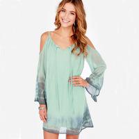 New Fashion Solid Beach Dresses Summer Casual Loose V-Neck Long Sleeve Dress Spaghetti Strap Chiffon brief Dress
