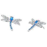 New!!! Best Quality Platinum Plated Austria Crystal Dragonfly Earrings,Wholesale Rhinestone Earrings,Fashion Jewelry,GYR853