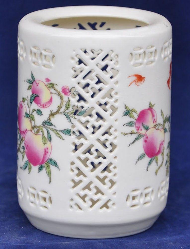 Ceramic crafts China hand made ceramic hollow pen holder Stained peaches Bat 026(China (Mainland))