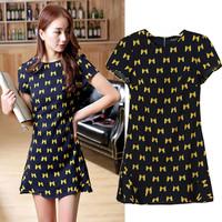 Spring Summer 2015 Bow Print Dress Women Short Sleeve O Neck Above Knee Mini Vestidos Femininos Fitted Clothing