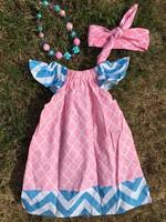 blue chevron pink quatrefoil pillow dress girl dress peasant dress with headband and necklace