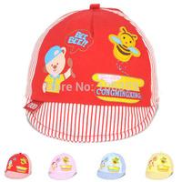 Spring & Summer Lovely Cotton Baby Hat Bee Infant Baseball Cap Stripe Newborn Casquette Peaked Sun Cap 10pcs SW043