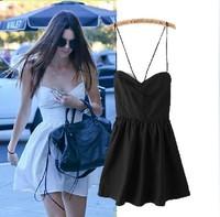 Summer new ladies' sexy halter-style cross dress lacing behind  Dress brand tops dress 9932