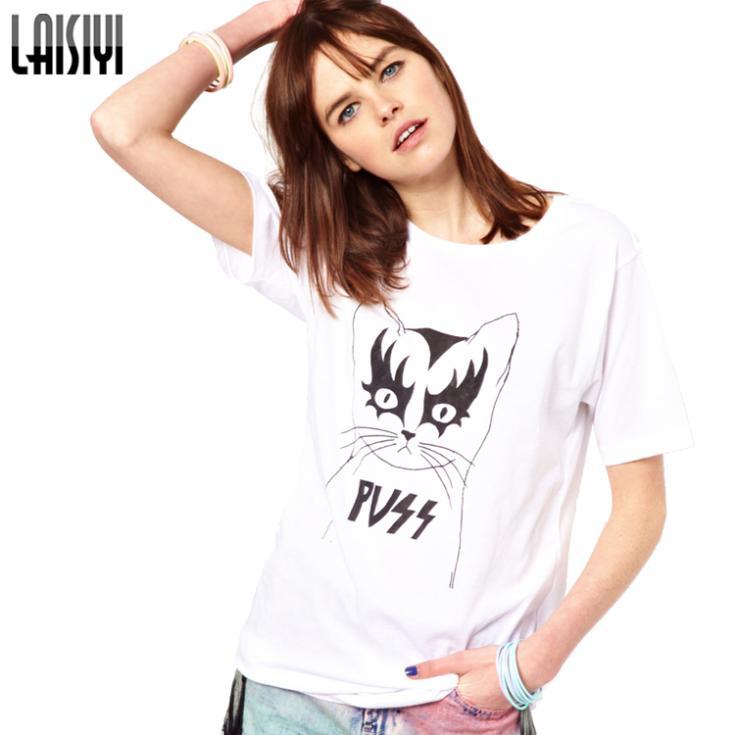 Laisiyi Summer Hot Sale Cute Cat Pattern Cotton Tops Casual Plus Size Short Sleeve T Shirts Fashion Animal Print Blusas TS1234(China (Mainland))