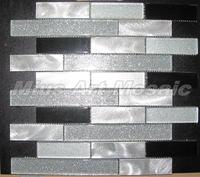 [Mius Art Mosaic]  Strip Aluminium alloy mosaic mixed Blue Glass tile   for wall decoration D2015