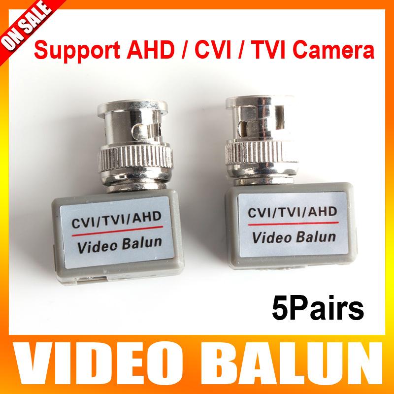 5Pairs BNC CCTV Video Balun Passive Transceivers BNC Cat5 CCTV Support 720P/1080P AHD & HDCVI & TVI Camera Upto 200m Range(China (Mainland))