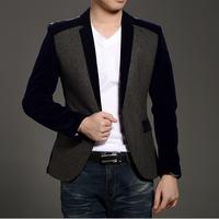 Blazers 2015 leisure suit jacket Woolen cloth Blazers men free shipping