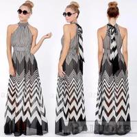 dress 2015 vestidos women dress new wave perspective stripes stitching Halter long dress women summer dress vestido