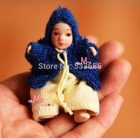 Doll Blue Fat  Sweet Cute Baby BOY 1/12 Dollhouse Miniature baby doll animal baby children's toys gift birthday present