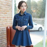 2015 new korean spring and autumn denim dress long-sleeve women's preppy style slim dress female