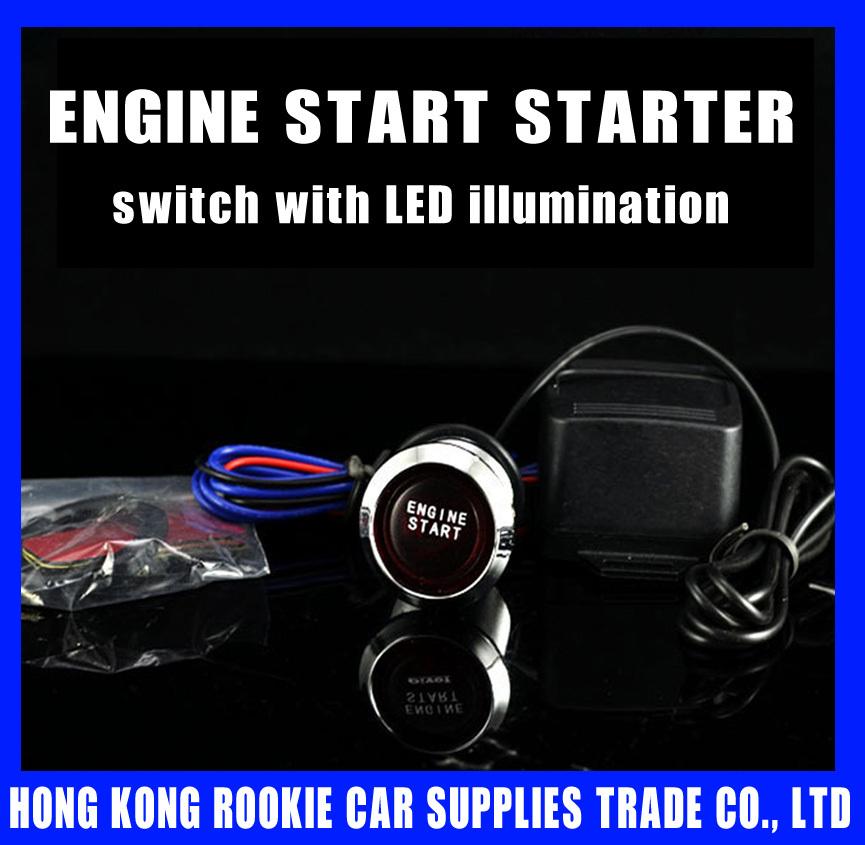 Universal Auto Car Keyless Entry System LED Illumination Engine Ignition Push Start Button Starter Kit With Retail Box FREE SHIP(China (Mainland))