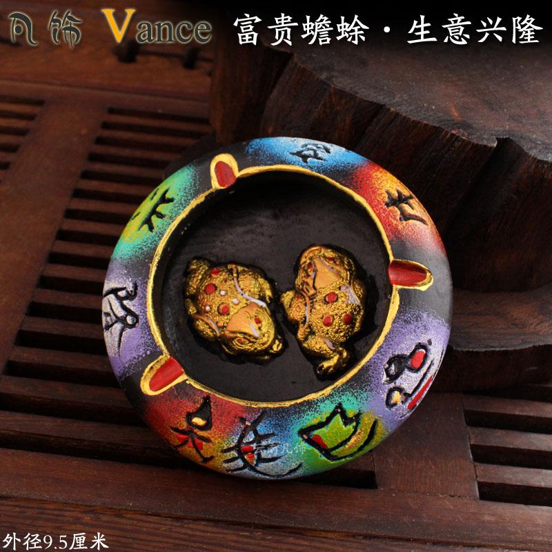 Quality handmade earthenware national trend unique ashtray decoration souvenir(China (Mainland))