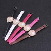 1pc  Women Lady Casual  Luxury Tower Leather Brand Watch Watches Quartz Wristwatch High Quality New Fashion