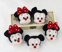 100pcs/lot 7cm mickey minnie head plush toys dolls,stuffed mickey minnie keychian toys plush small pendant, promotion gifts