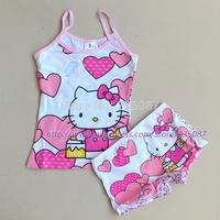 Retail (3-7Y) Girls Clothing Set, Cute Cartoon Underwear Suit, Kids Tank Tops + Boxer Briefs Set, hello kitty, minnie, winx
