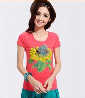 fashion  2015 new short-sleeved women's Hand-embroidered sunflower  round neck Slim t-shirt 2817