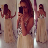 Sexy Backless Spaghetti Strapagne Champagne Prom Dresses Crystal Beads Chiffon Prom Gowns 2015